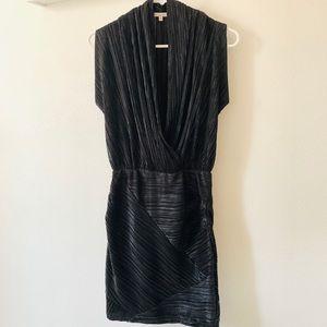 RACHEL Rachel Roy Metallic Faux Wrap Pleated Dress